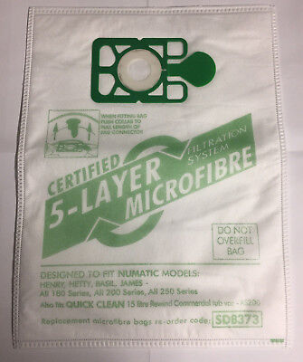 10 x Vacuum Cleaner Microfibre Dust Bags For Numatic Henry Hetty Hoover