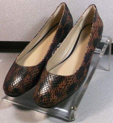 7811364 LSP30 Women Shoes Size 7 M Silver Print Leather Flats Johnston /& Murphy