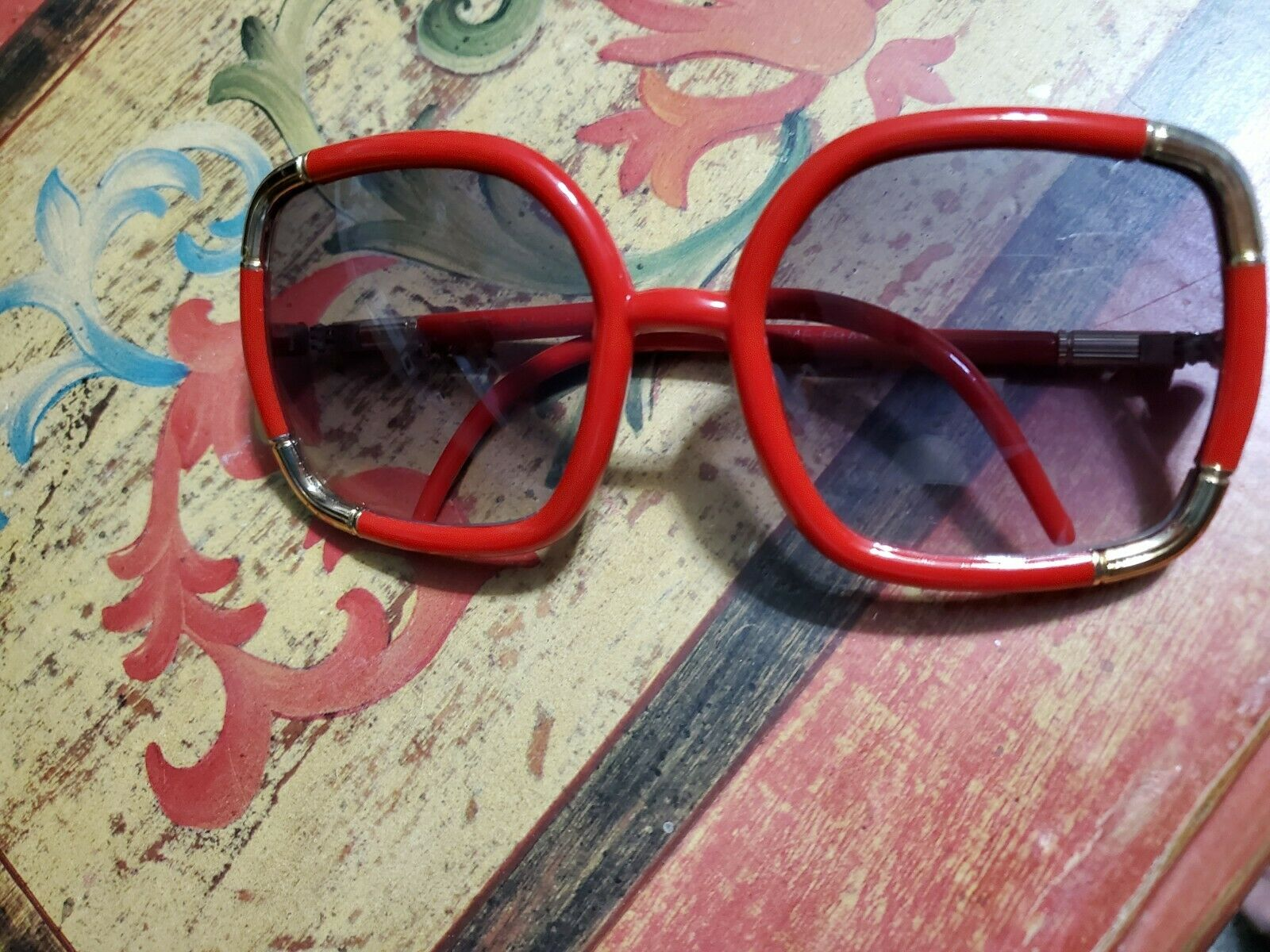 Vintage Red/Gold Ted Lapidus 1970's Oversized Sun… - image 3