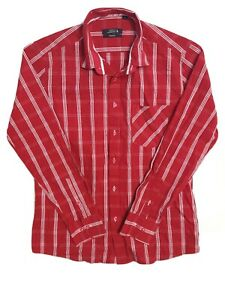Men-039-s-Polo-Ralph-Lauren-Long-Sleeve-Smart-Fit-Button-Down-Red-Check-Shirt-Size-L