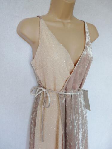 Bnwt NEXT écru nude neutre Wrap sequins velours Occasion Mariage Croisière Robe
