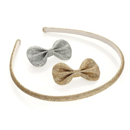 THREE PIECE GOLD /& SILVER COLOUR GLITTER HEADBAND AND BOW CLIP SET