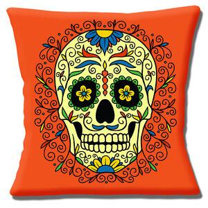 abff97a1b49 Mexican Sugar Skull Cushion Cover 16x16 inch 40cm Day of the Dead ...