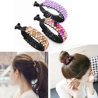 1pcs Girls Flowers Bun Hair Clip Holder Comb Hairpin Claw Crystal Ponytail