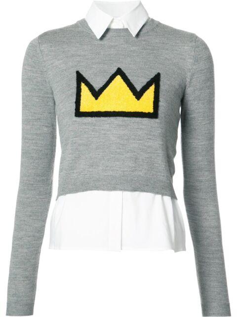 Alice + Olivia AO X Basquiat Nikia Crown Sweater Shirt Wool Knit Top SIZE S NWOT