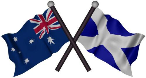 SCOTTISH  AUSTRALIA FLAG VINYL DECAL GLOSS LAMINATED CONTOUR CUT 130MM BY 70MM