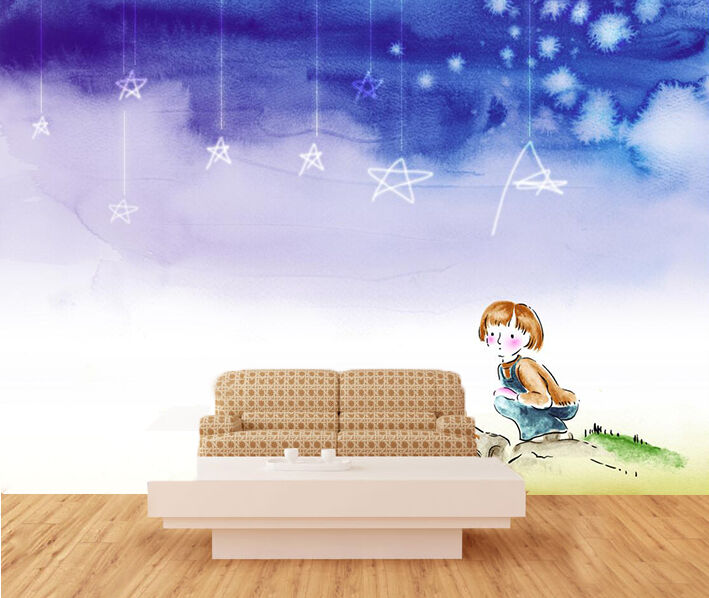 3D Cute girl, stars 677 Wall Paper Print Wall Decal Deco Indoor Wall Murals