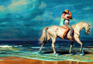 Lovers-Vintage-Art-Horse-Riding-Rebel-Beach-Pinup-Painting-Canvas-Print-Large