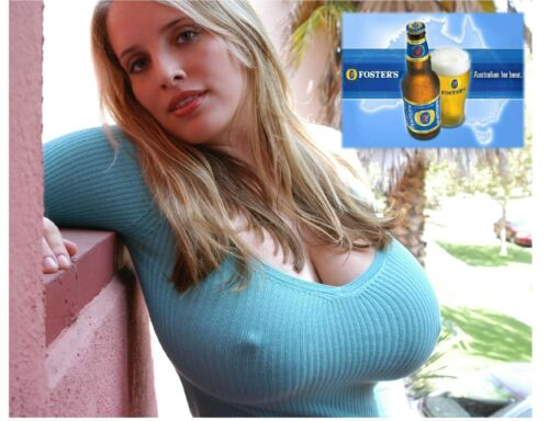 Fosters Beer Busty Model In Blue Top Refrigerator Tool Box Magnet