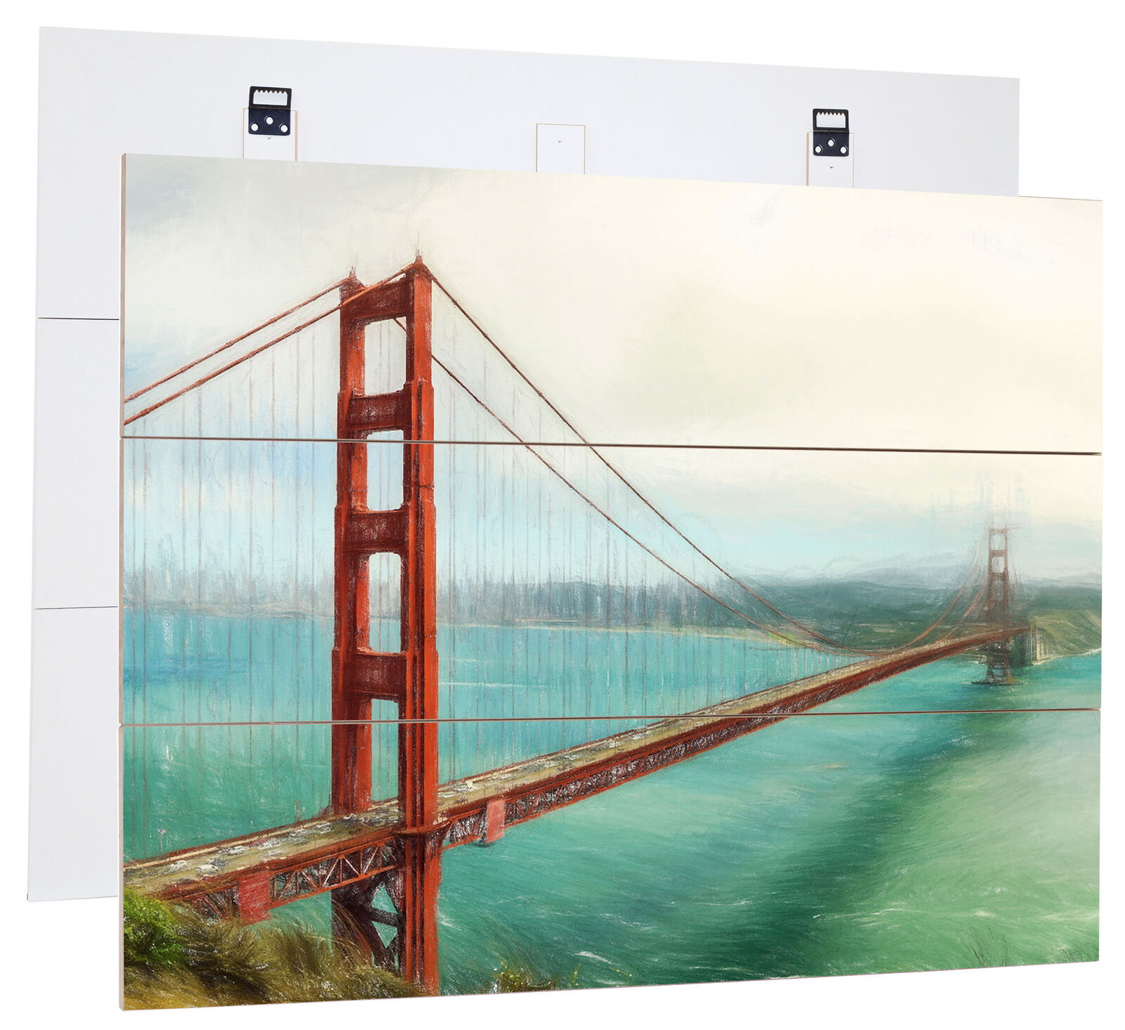Pont Du oren Gate en San Francisco - Authentique Mdf-Holzbild Bretterlook,