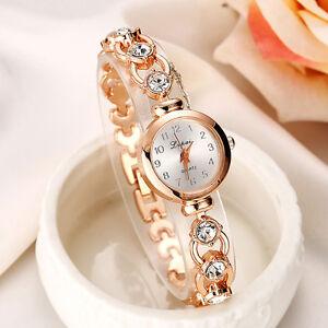 Gold Fashion Women's Crystal Luxury Steel Quartz Wrist Classic Designer Watch