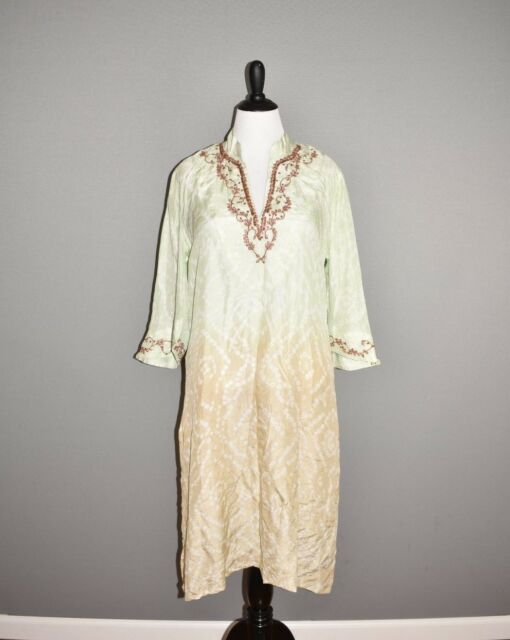 SOFT SURROUNDINGS NEW $110 Kashmir Sequin Embroidery Silk Ombre Tunic Dress XL