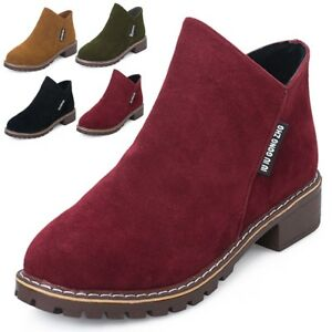 Womens-Flat-Low-Heel-Chelsea-Boots-Ladies-Classic-Suede-Zipper-Ankle-Shoes-Black