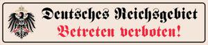 Deutsches-Reichsgebiet-Strassenschild-Blechschild-Tin-Street-Sign-10-x-46-cm