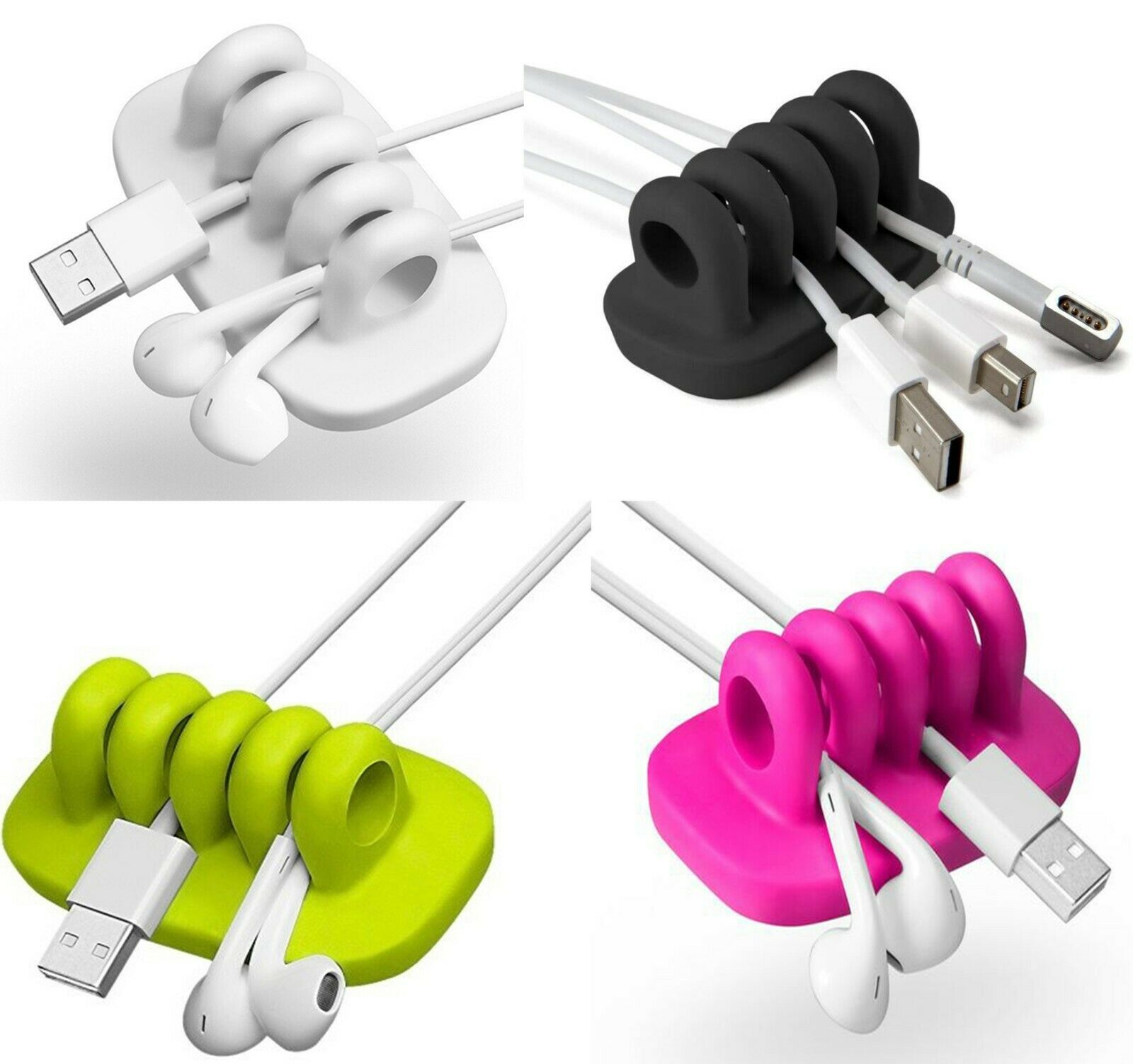 DeskTop Cable Tidy Organiser Charger IPad Computer earphone office Mobile phone