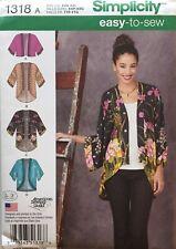 Simplicity 1318 Misses Kimono Jackets Sizes XXS - XXL
