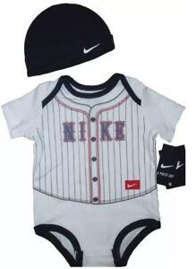 508f9226e0a23 Nike Bodysuit Cap 2 piece Set Outfit Athletic Boys Romper Creeper Hat  baseball