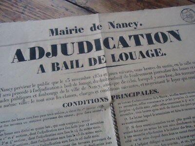 Streng Lorraine Affichette Adjudication Attribution Bail Nettoyage Des Rues Nancy 1832 Mooie Glans