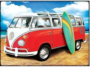 vw samba bulli bus surfer metall deko schild plakat ebay. Black Bedroom Furniture Sets. Home Design Ideas