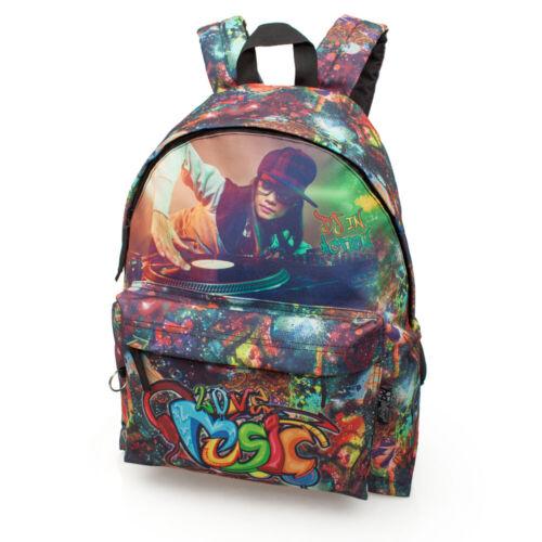 Garçons Filles Sac à Dos Sac D/'école Sac à dos de voyage travail uni tendance DJ Graffiti