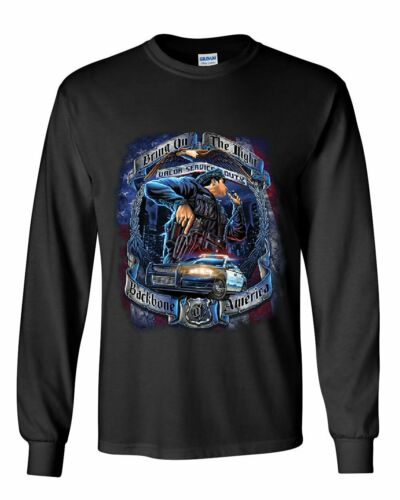 Police Backbone of America Long Sleeve T-Shirt Valor Service Duty Cop Patrol Tee