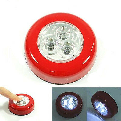 3 LED Stick Cordless Tap Push Touch Car Night light Cabinet Lamp Dry Battery AAA