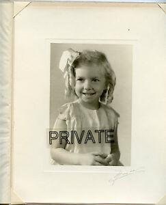 Antique Studio Photo in Folder - Little Girl, Long Curls, Big Smile & Hair Bow