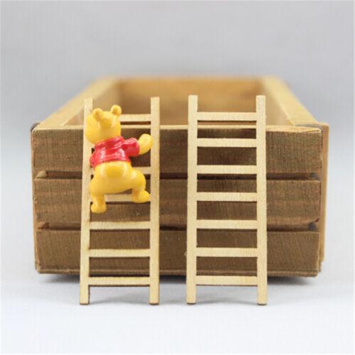 4Pcs Puppenhaus Miniatur Fee Garten Holz Stufenleiter Wohnmöbel Dekor SH