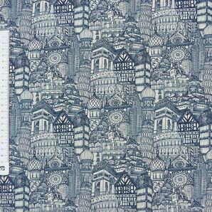 Baumwollstoff Häuser Bauten weltweit blau natur 1,6m Breite