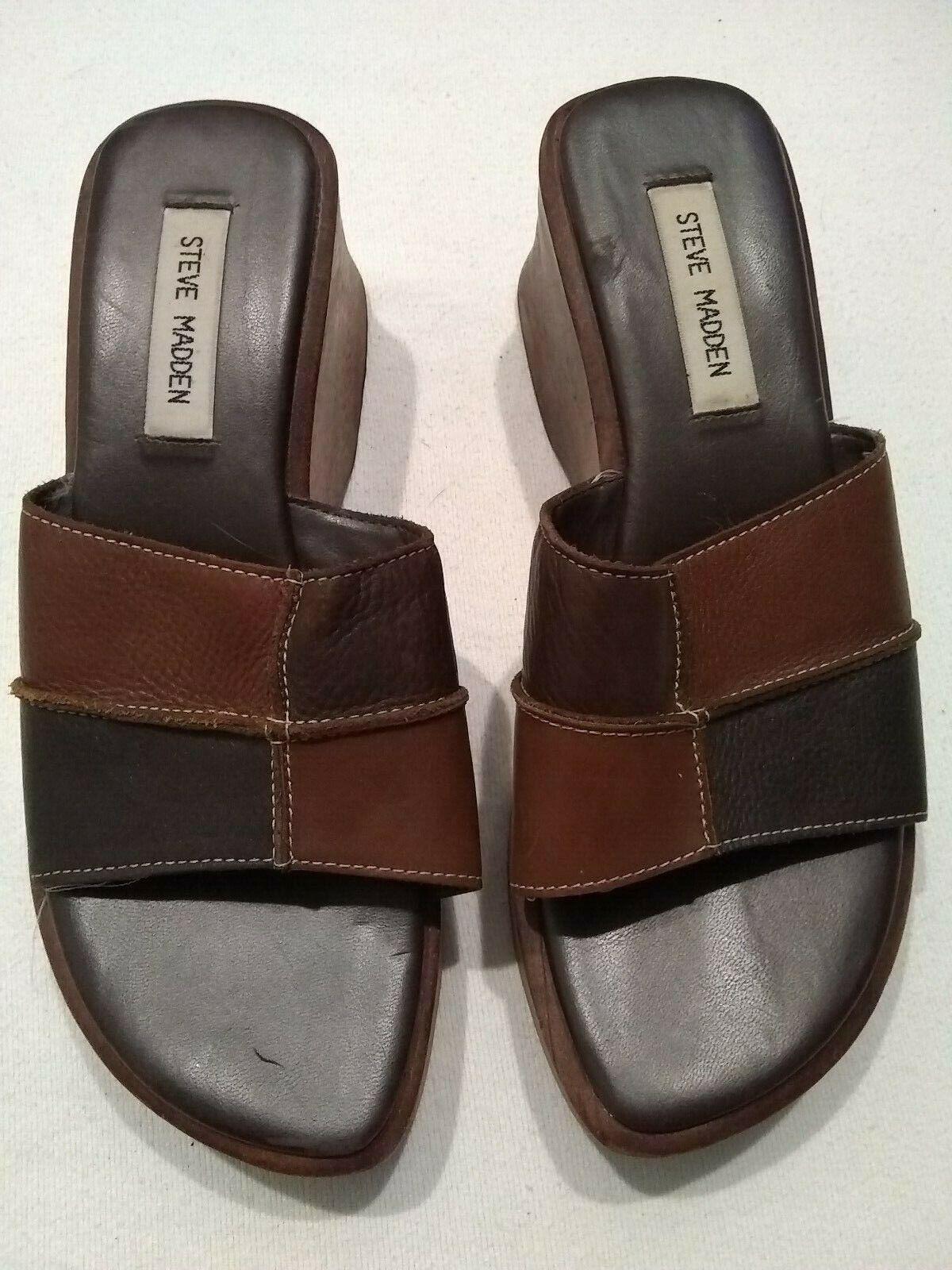 in vendita Steve Madden 9 Patchwork Leather Leather Leather and Wood Platform Wedge scarpe  risparmia fino al 30-50% di sconto