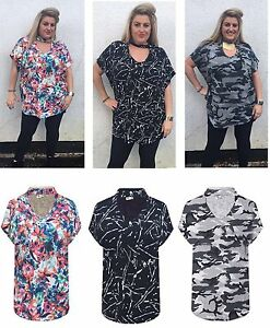 New with Tag Ladies Printed Sleeveless V Neck Choker Baggy Top Shirt