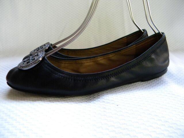 Tory Burch Reva Crystals Logo Ballerina Flats Black Leather Size 11