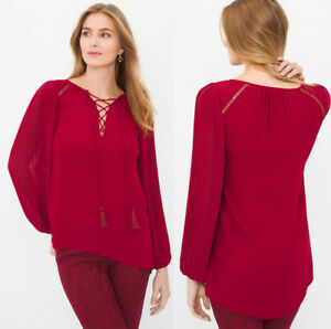 White House Black Market Whbm Pleated Sleeve Blouse Red Lace Up Top