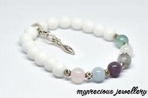 Natural Bracelet Gemstone Fertility Quartz Moonstone Lepidolite Healing IVF UK