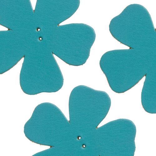 P13//1 Gran flor de cuero turquesa Die Cut encantos 55 mm paquete de 3