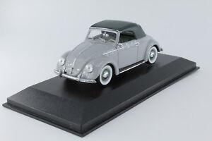 A-s-s-Minichamps-1-43-VW-Beetle-escarabajo-hebmueller-cabriolet-SoftTop-Grey-Green