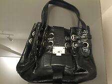 AUTH, New, Jimmy Choo Black Textured Patent Leather Ramona Handbag, RRP $2000