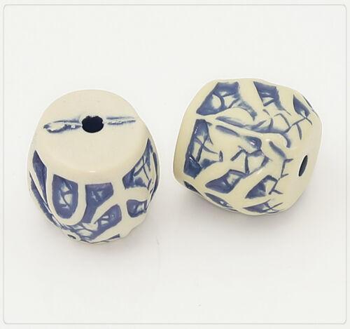 4x Resin Kunstharz Perlen Beads Schmuck DIY Basteln 16x18mm elfenbein//blau rs034