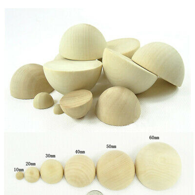 Natural Wooden Craft Half Balls//Spheres Wood Semi-circle Semicircle Dia 10-75mm