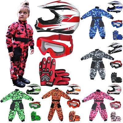Costume de Motocross pour Enfants Leopard LEO-X16 Casque de Moto Motocross Lunettes Noir Costume XS 3-4 Ann/ées Casque/&Gants L Gants