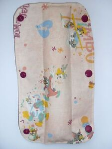 Kids-Handmade-Seat-Belt-Pad-Reversible-Tom-amp-Jerry-white-mauve-polka-dot-80