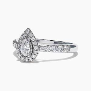 Fashion-925-Silver-Wedding-Engagement-Rings-Pear-Cut-White-Sapphire-Size-6-10