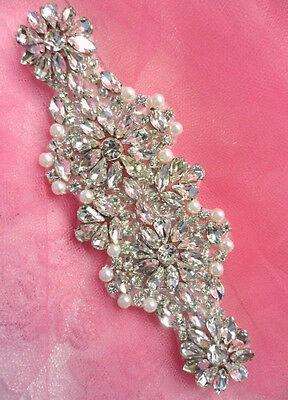 """XR256 Crystal Rhinestone Applique Silver Settings w/ Pearls 6"""" Bridal Motif"""