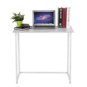 Details About Narrow Desk Small White Computer Table Minimal Office Furniture Folding