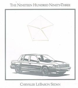 Adaptable 1993 Chrysler Lebaron Sedan Brochure W / Color Chart : Le , Landau, Le Baron