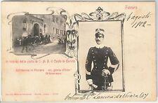 CARTOLINA d'Epoca -  FERRARA citta' - REALI : Visita Conte di Torino ! 1902