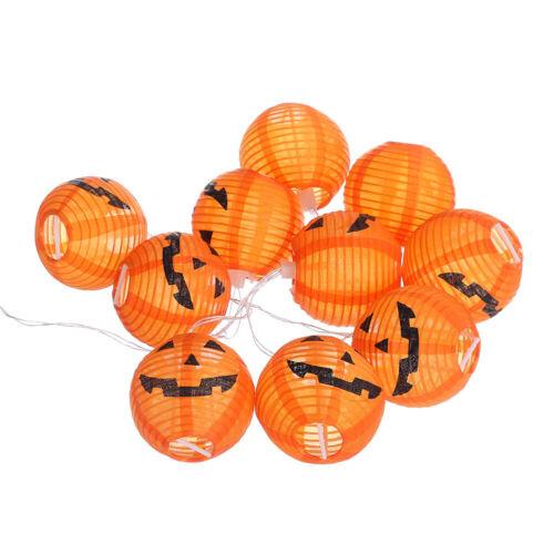 10 LED Pumpkin String Lantern Fairy Lights Party Home Props Halloween Decoration