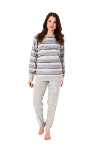 Damen Frottee Pyjama Rundhals Langarm Streifen Übergrößen 62298