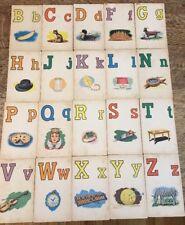 Vintage Alphabet Letter Flash Cards School Picture Words Partial Set