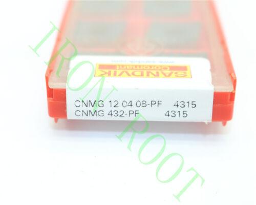 Sandvik 10Pcs CNMG120408-PF// CNMG432-PF 4315 CNC New Carbide Insert
